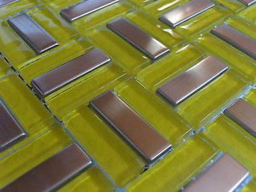FLIESENTOPSHOP Glasmosaik Edelstahlmosaik Fliesen Mosaik Metallmosaik 3 Edelstahl Klarglas 8mm