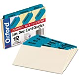 Oxford 04613 Laminated Tab Index Card Guides, Monthly, 1/3 Tab, Manila, 4 x 6, 12/Set (OXF04613)