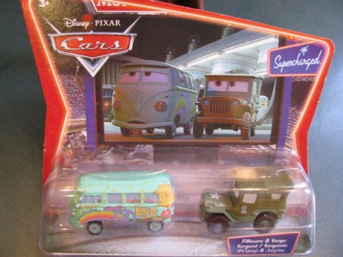 Disney Pixar Cars Fillmore & Sarge Sergent Sargento Supercharged Movie Moments International Language Edition Version Two Car Set 1:55 Scale Mattel