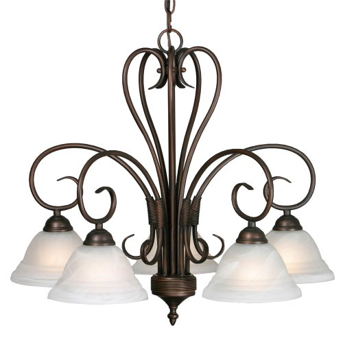 B000YQ62MK Golden Lighting 8505-D5 RBZ Homestead Ridge Five Light Nook Chandelier, Rubbed Bronze Finish