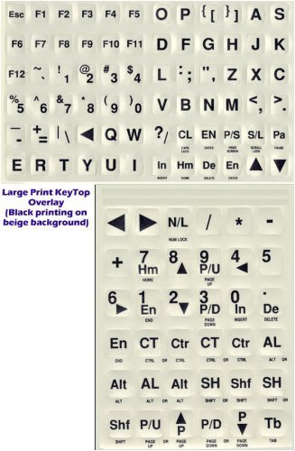 Large Print Keyboard Labels For Pcs- Black-White
