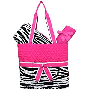 Zebra Print Quilted Diaper Bag - Hot pink/White stripe
