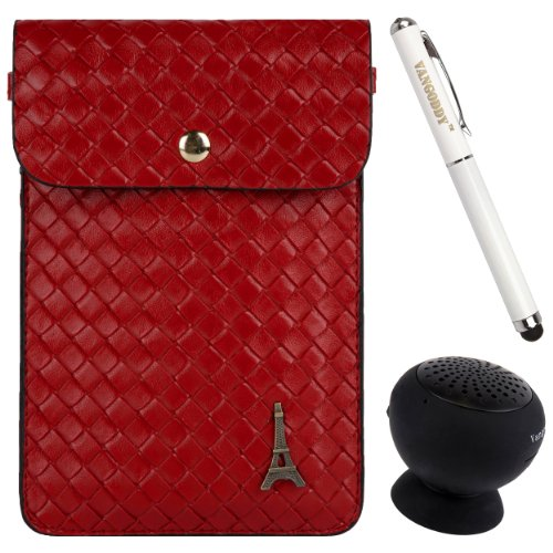 Braided Pu Leather Cell Phone Bag Pouch Case For Blu Life Pure Xl / Pure Mini / One X / One M / Play X / Pure / Play S + Stylus Pen + Black Bluetooth Speaker (Red)