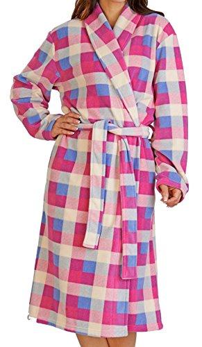 ladies-in-pile-ultra-morbido-check-scialle-colletto-accappatoio-house-cappotto-piccolo-x-large-pink-