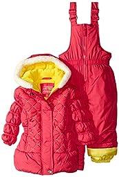 Pink Platinum Baby Girls\' Quilted Jacket Snowsuit, Fuchsia, 18 Months