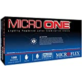 Microflex MO150M Lightly Powdered Micro-One Latex Glove Size Medium, 100 Box