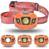 【Sunix】 ハイパワー LEDヘッドライト 2000mAhのリチウム充電電池、長いバッテリ寿命 【明るさ120ルーメン/実用点灯10時間】【完全防水】【調光モード、夜間モード、ストロボモード】夜の作業 夜釣り キャンプなどのアウトドア活動に適用 (オレンジ)LD414