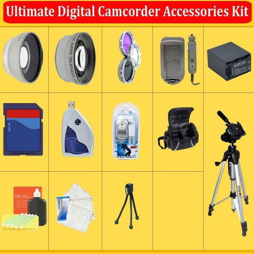 Huge Ultimate Accessory Kit for the Sony HDR-CX550V,HDR-XR550V HD Handycam Camcorder.the Kit Includes Lenses, Filters, 8 Gb SDHC, Extended Replacement Battery,Rapid Charger, Carrying Case, Tripod, Video Light Plus Much More!!
