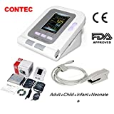 CONTEC08A FDA Approved Fully Automatic Digital Upper Arm Blood Pressure Monitor (4 Cuffs&Adult spo2 Probe) (Tamaño: 4 cuffs&adult spo2 probe)