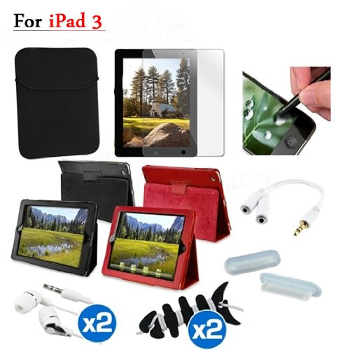 "Tsirtech 11 Accessory Bundles For Apple ""New iPad"" 4G lite Leather Case+Film(Compatible with iPad 2, iPad 3 and iPad 4)"