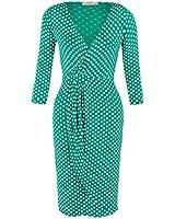 KRISP® Damen Kurzes Stretch Wickelkleid Gepunktetes Jersey Kleid