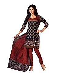 Taos womens pure cotton salwar suits for women New Arrival latest 2016 dress material party wear dresses Unstitched(828 blue black red)