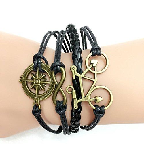 Time Pawnshop Retro Knit Bronze Compass Bicycle 2 Hearts Multilayer Charm Adjustable Bracelet