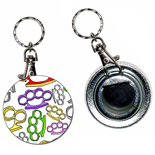 Knuckle Duster Pattern - 55mm Button Badge Bottle Opener Key Ring (Knuckle Duster Bottle Opener compare prices)