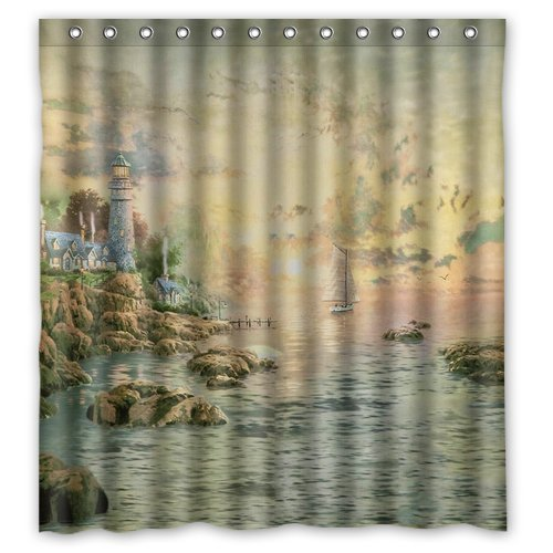 Custom Waterproof Fabric Bathroom Shower Curtain Lighthouse Map 66