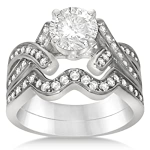 Allurez Intertwined Diamond Engagement Ring Setting With Wedding Band Bridal Set Platinum 0.59ctw 9.25