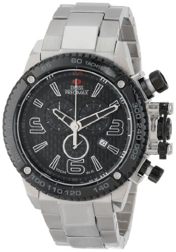 Swiss Precimax Men's Forge Pro SP13246 Silver Stainless-Steel Swiss Chronograph Watch with Black Dial