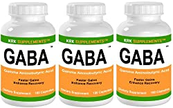 3 BOTTLES GABA 540 total Capsules Gamma Aminobutyric Acid Amino Acid 1500mg serving KRK SUPPLEMENTS