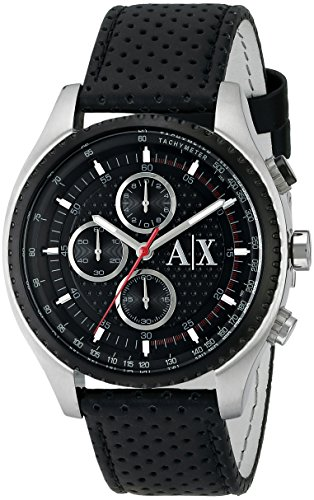 Armani Exchange The Driver Leather Chronograph Mens Watch AX1600