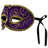 Mardi Gras Jewelry Mask - Purple Gold W41S33D