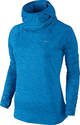 Nike Women's Dry Element Running Hoodie Light Photo Blue/Heather/Reflective Silver Sweatshirt LG