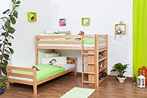 Children's bed / Bunk bed Moritz L solid, natural beech wood, comes with shelf, includes slatted frame - 90 x 200 cm