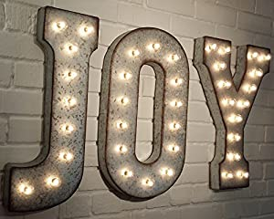 Amazoncom joy large metal rustic nostalgic industrial for Lighted letters joy