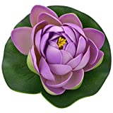 Veena Artificial Plastic Floating Orange Lotus with Rubber Leaf Set of 3 (10 cms Diameter, Purple)