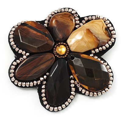 Gigantic Amber Style Flower Brooch (Catwalk - 2011)