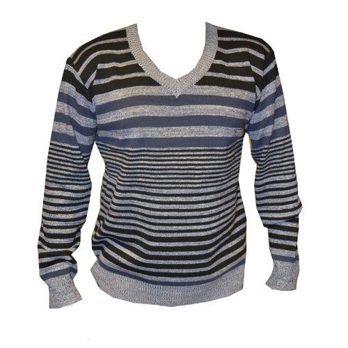 Mens Warm Knit Jumper Casual Long Sleeve Jumper Grey Black Sweater L