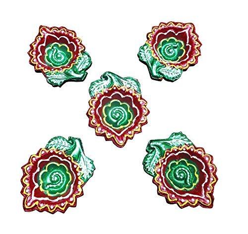 Sanskrite India Designer Terracotta Diwali Diya Set Of 5 Pcs With Cotton Wicks Handmade Gift Décor