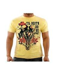 Funktees Men's Round Neck Cotton T-Shirt Yellow Medium - B00TTLQ3PW