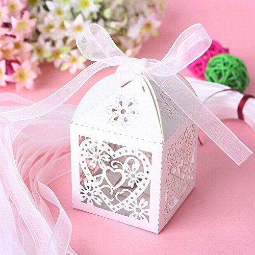 PONATIA 50 PCS Love Heart Laser Cut Candy Gift Boxes With Ribbon Wedding Party Favor (White)