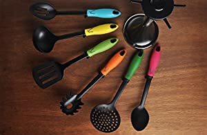 7 Piece Kitchen Utensil Set with Carousel Holder by Veran- Elevated Cooking Utensils- Heat Resistant Nylon Cook Tools- Rubber Handles- FDA Approved- Dishwasher Safe Accessories (Multi Color)