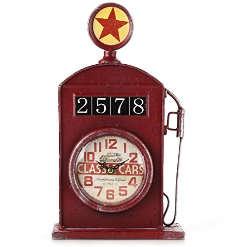 Lily's Home Antique Inspired English Red Gas Pump Mantle Clock 13 Inch 0