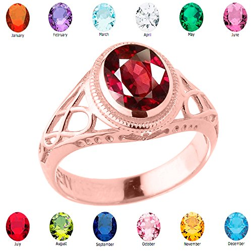 Women'S Fine 14K Rose Gold Trinity Knot Personalized Cz Birthstone Celtic Ring, Size 5.25