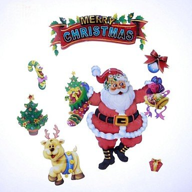 Zcl 41*29Cm Fancy Christmas Decoration Santa Claus Aeolian Bells Stickers Stickers