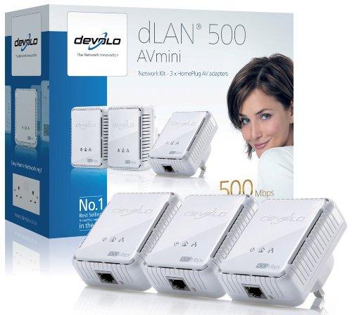 Devolo dLAN 500 AVmini (IEEE 1901/ Hplug AV) Network Kit - (3x plugs)