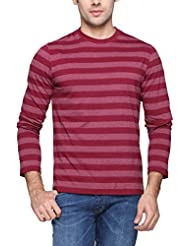 PepperClub Men's Cotton Round Neck Full Sleeve T-shirt -Stripe -Maroon