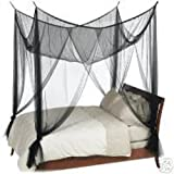Octorose ® Black 4 Poster Bed Canopy Functional Mosquito Net Full Queen King