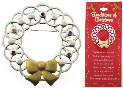 Traditions of Christmas Holiday Wreath Pin w/