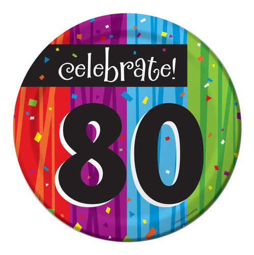 Creative Converting Milestone Celebrations Round Dessert Plates, 8-Count, Celebrate 80 - 1