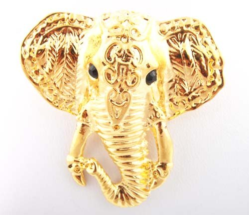 Ladies Gold Elephant Face Brooch & Pin Pendant