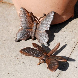 Ornamental Weather are proud to present the Cast Iron Butterfly & Dragonfly Garden Ornament Set