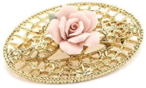 1928 Jewelry Pink Porcelain Rose Gold Filigree Brooch