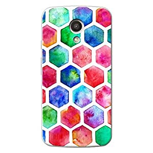 EYP Colour Hexagons Pattern Back Cover Case for Moto G (2nd Gen)