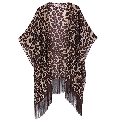 Soul Young Women's Floral Aztec Leopard Light Chiffon Beachwear Cover-ups Kimono (Young Womens Clothing compare prices)