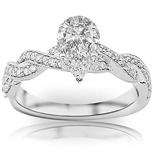 1.08 Carat Pear Cut / Shape 14K White Gold Vintage Eternity Love Twisting Split Shank Diamond Engagement Ring ( H-I Color , SI1 Clarity )