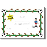 Pack of 6 x homemade* A5 Star player / Good football certficiate (boy) - Reward good play with certificates. (Girl's certificates also available), NOT laminatedby 123 Web Art