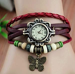 Ankin Luxury New Fashion Butterfly Pendant Quartz Retro Weave Wrap Around Leather Bracelet Quartz Woman Vintage Wrist Watch Designer Gift (Red)